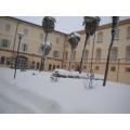 Il palazzo comunale sotto la neve