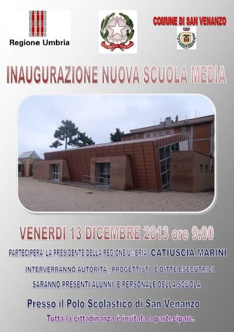 Locandina inaugurazione Scuola Media
