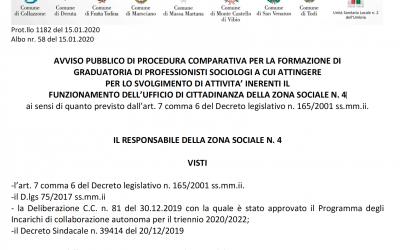 AVVISO PUBBLICO DI PROCEDURA COMPARATIVA PER LA FORMAZIONE DI GRADUATORIA DI PROFESSIONISTI SOCIOLOGI A CUI ATTINGERE PER LO SVOLGIMENTO DI ATTIVITA' INERENTI IL FUNZIONAMENTO DELL'UFFICIO DI CITTADINANZA DELLA ZONA SOCIALE N. 4